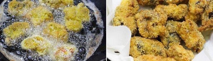 Bậtbếp điệnlên, chiên vàng sườn sau đó gắp ra đĩa có lót giấy thấm dầu.